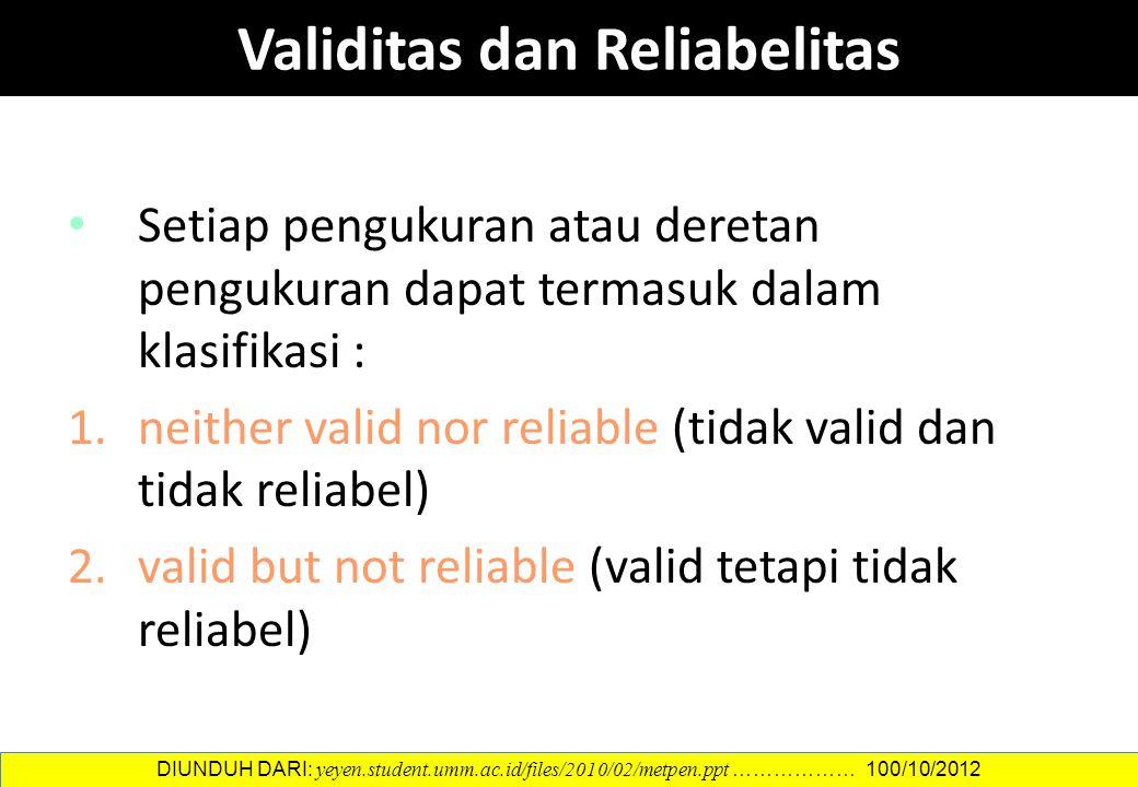 Setiap pengukuran atau deretan pengukuran dapat termasuk dalam klasifikasi : 1.neither valid nor reliable (tidak valid dan tidak reliabel) 2.valid but