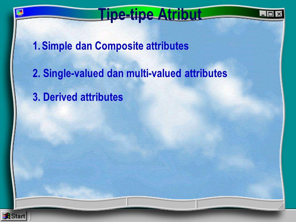 Tipe-tipe Atribut 1.Simple dan Composite attributes 2. Single-valued dan multi-valued attributes 3. Derived attributes