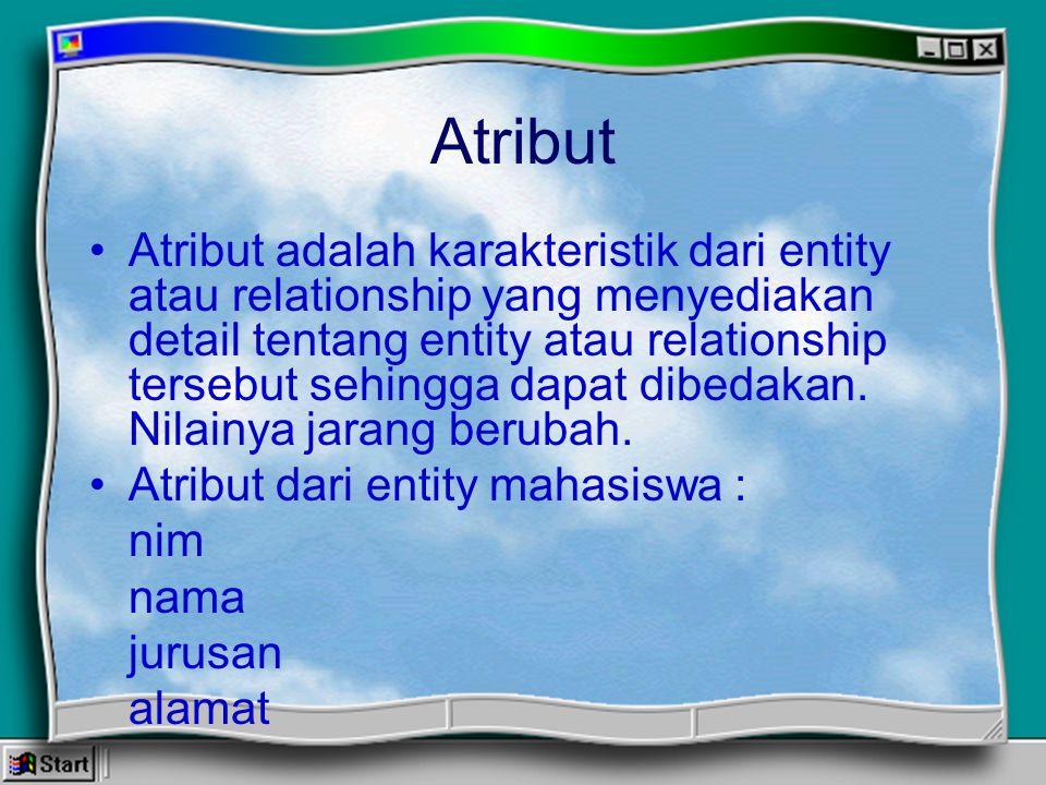 Atribut Atribut adalah karakteristik dari entity atau relationship yang menyediakan detail tentang entity atau relationship tersebut sehingga dapat di