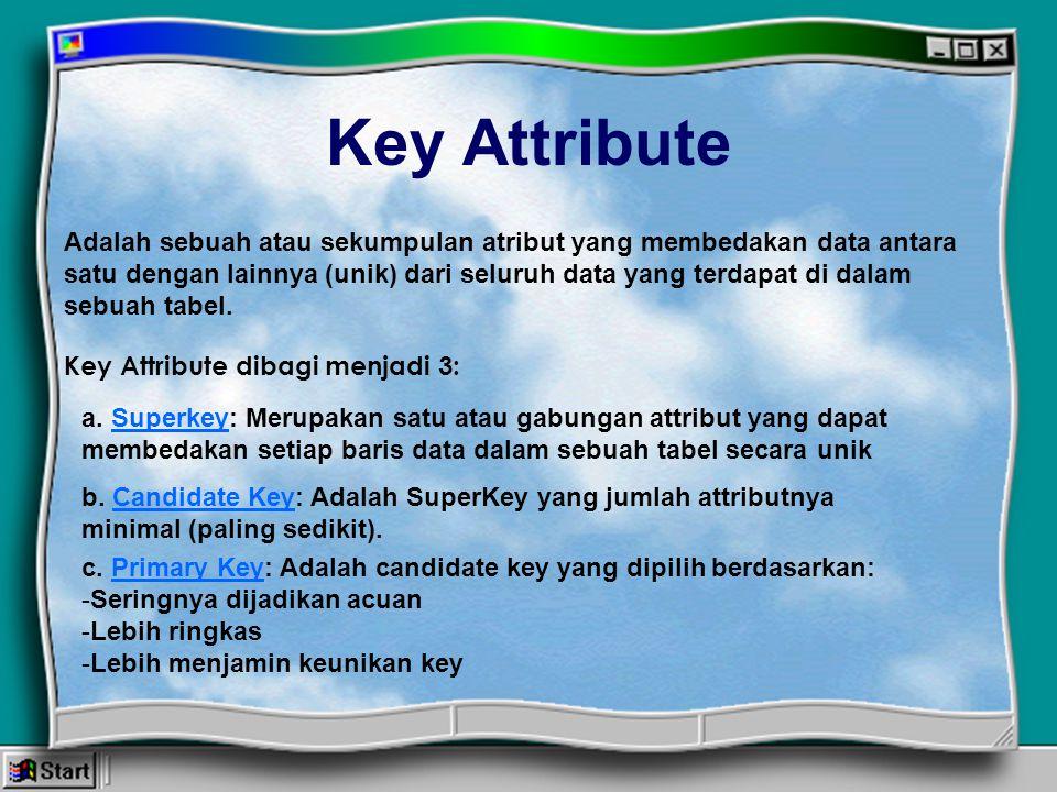 Key Attribute Adalah sebuah atau sekumpulan atribut yang membedakan data antara satu dengan lainnya (unik) dari seluruh data yang terdapat di dalam se