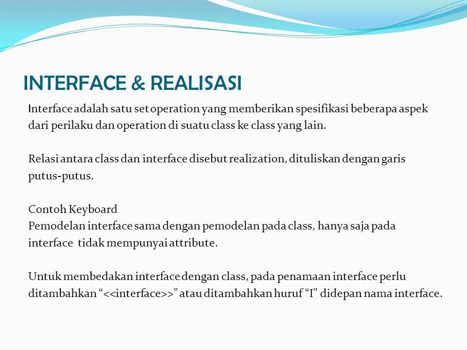 INTERFACE & REALISASI I nterface adalah satu set operation yang memberikan spesifikasi beberapa aspek dari perilaku dan operation di suatu class ke class yang lain.