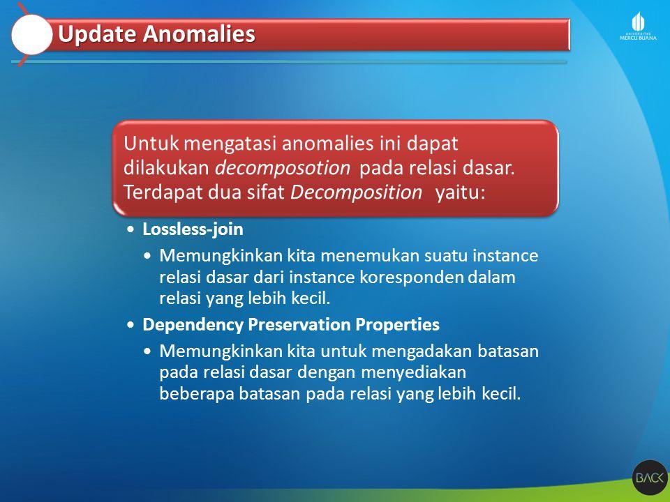 Update Anomalies Untuk mengatasi anomalies ini dapat dilakukan decomposotion pada relasi dasar. Terdapat dua sifat Decomposition yaitu: Lossless-join