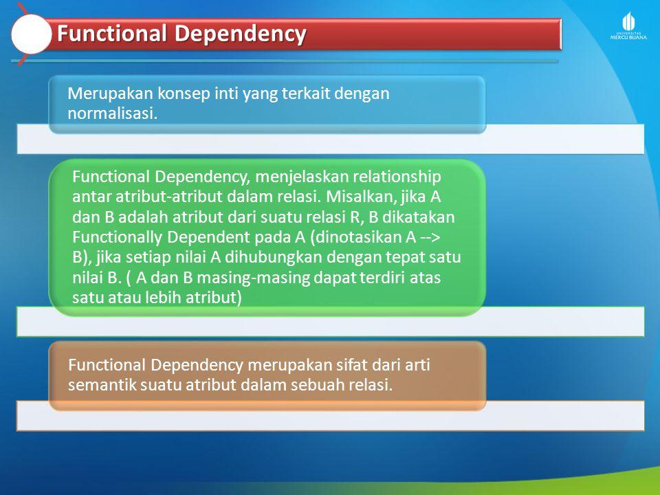 Functional Dependency Merupakan konsep inti yang terkait dengan normalisasi. Functional Dependency, menjelaskan relationship antar atribut-atribut dal