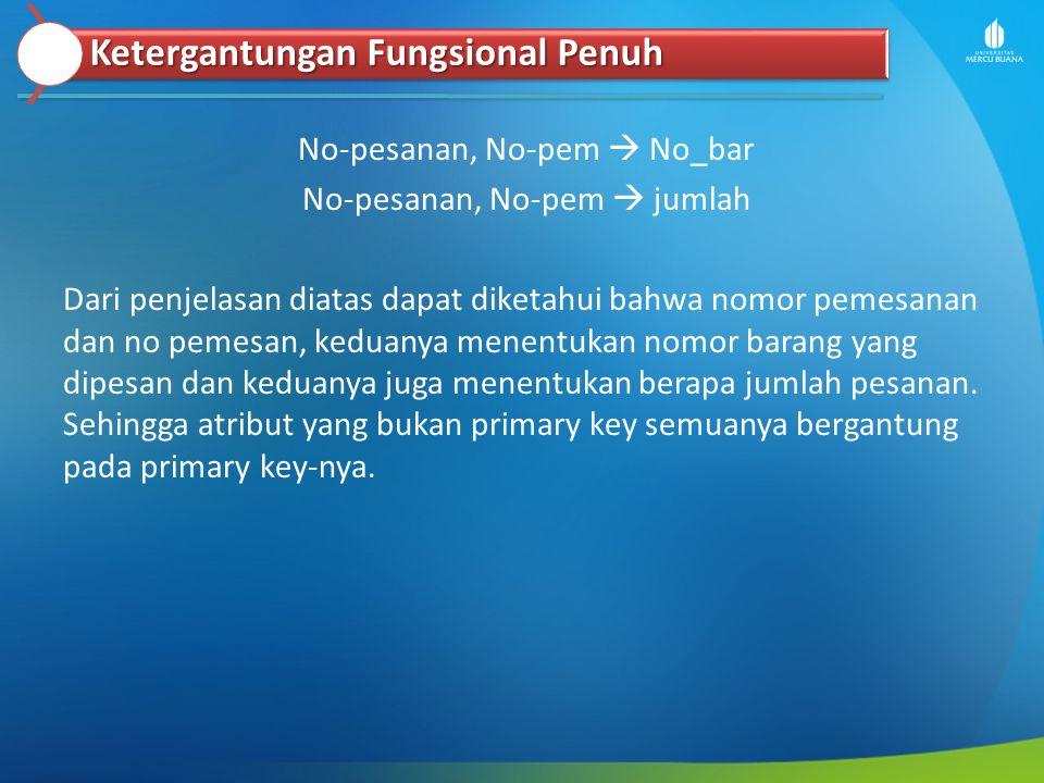 No-pesanan, No-pem  No_bar No-pesanan, No-pem  jumlah Dari penjelasan diatas dapat diketahui bahwa nomor pemesanan dan no pemesan, keduanya menentuk