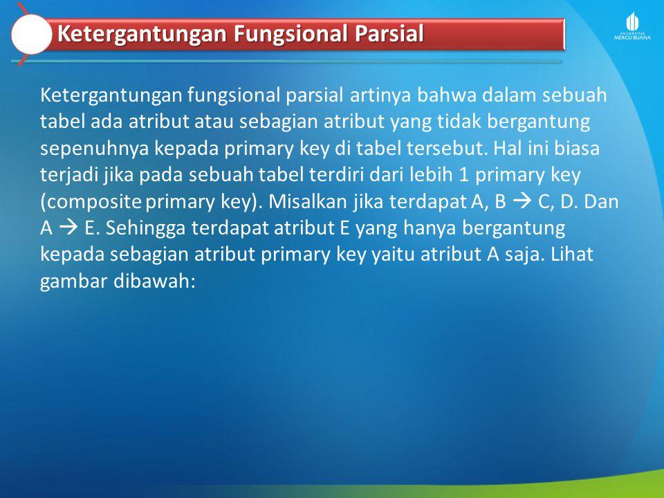 Ketergantungan fungsional parsial artinya bahwa dalam sebuah tabel ada atribut atau sebagian atribut yang tidak bergantung sepenuhnya kepada primary k