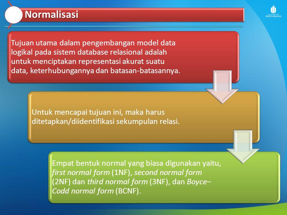 Normalisasi Tujuan utama dalam pengembangan model data logikal pada sistem database relasional adalah untuk menciptakan representasi akurat suatu data