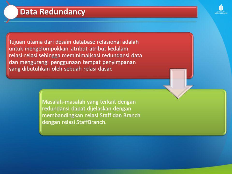 Data Redundancy Tujuan utama dari desain database relasional adalah untuk mengelompokkan atribut-atribut kedalam relasi-relasi sehingga meminimalisasi