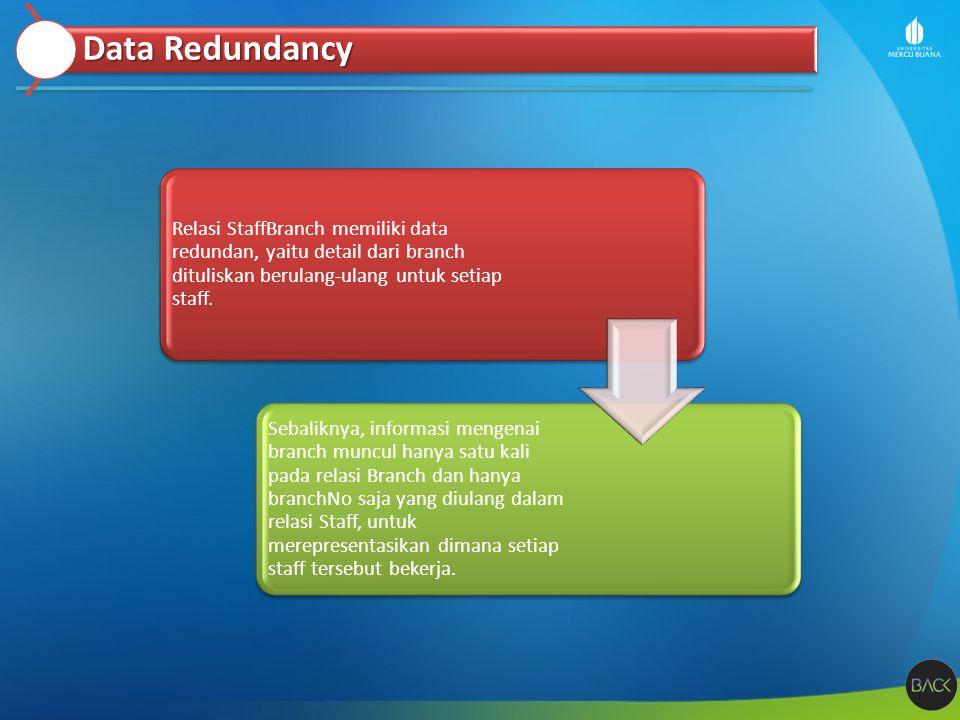 Relasi StaffBranch memiliki data redundan, yaitu detail dari branch dituliskan berulang-ulang untuk setiap staff. Sebaliknya, informasi mengenai branc