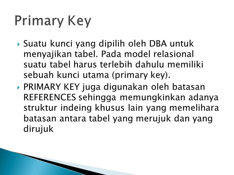  Suatu kunci yang dipilih oleh DBA untuk menyajikan tabel.
