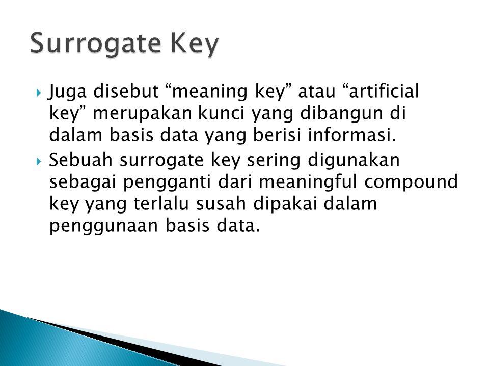  Juga disebut meaning key atau artificial key merupakan kunci yang dibangun di dalam basis data yang berisi informasi.