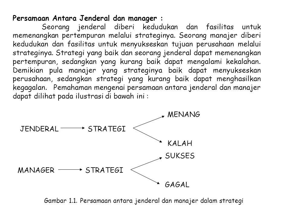 Persamaan Antara Jenderal dan manager : Seorang jenderal diberi kedudukan dan fasilitas untuk memenangkan pertempuran melalui strateginya. Seorang man
