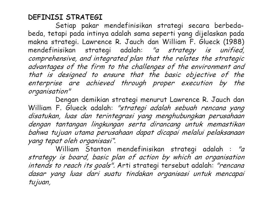 DEFINISI STRATEGI Setiap pakar mendefinisikan strategi secara berbeda- beda, tetapi pada intinya adalah sama seperti yang dijelaskan pada makna strate