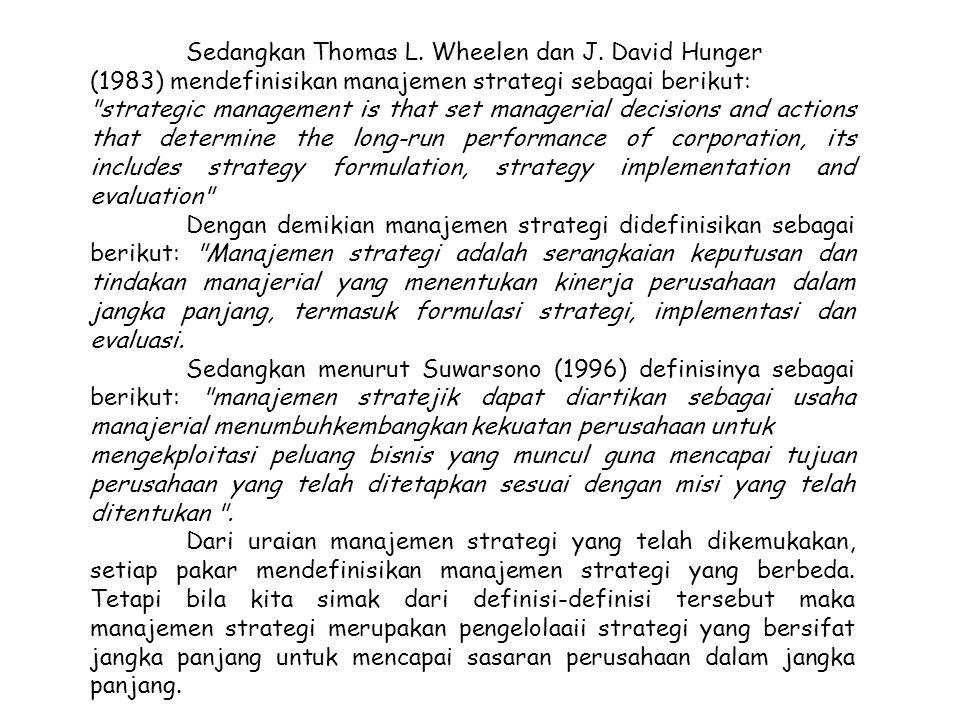 Sedangkan Thomas L. Wheelen dan J. David Hunger (1983) mendefinisikan manajemen strategi sebagai berikut: