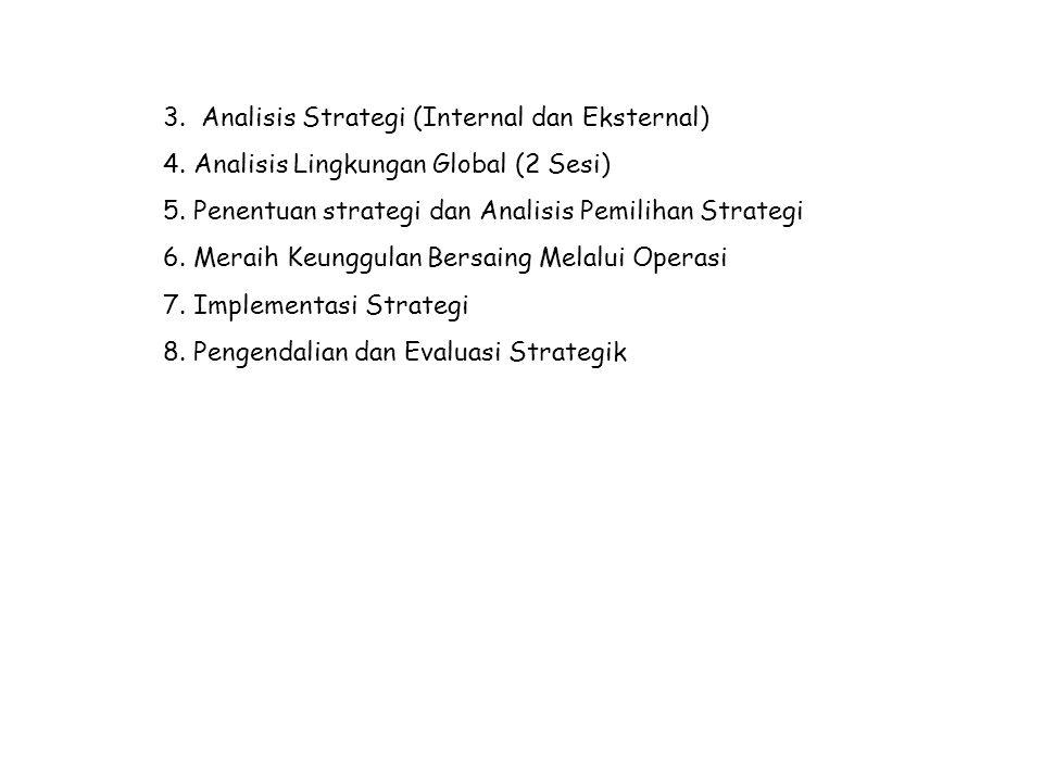 3. Analisis Strategi (Internal dan Eksternal) 4. Analisis Lingkungan Global (2 Sesi) 5. Penentuan strategi dan Analisis Pemilihan Strategi 6. Meraih K
