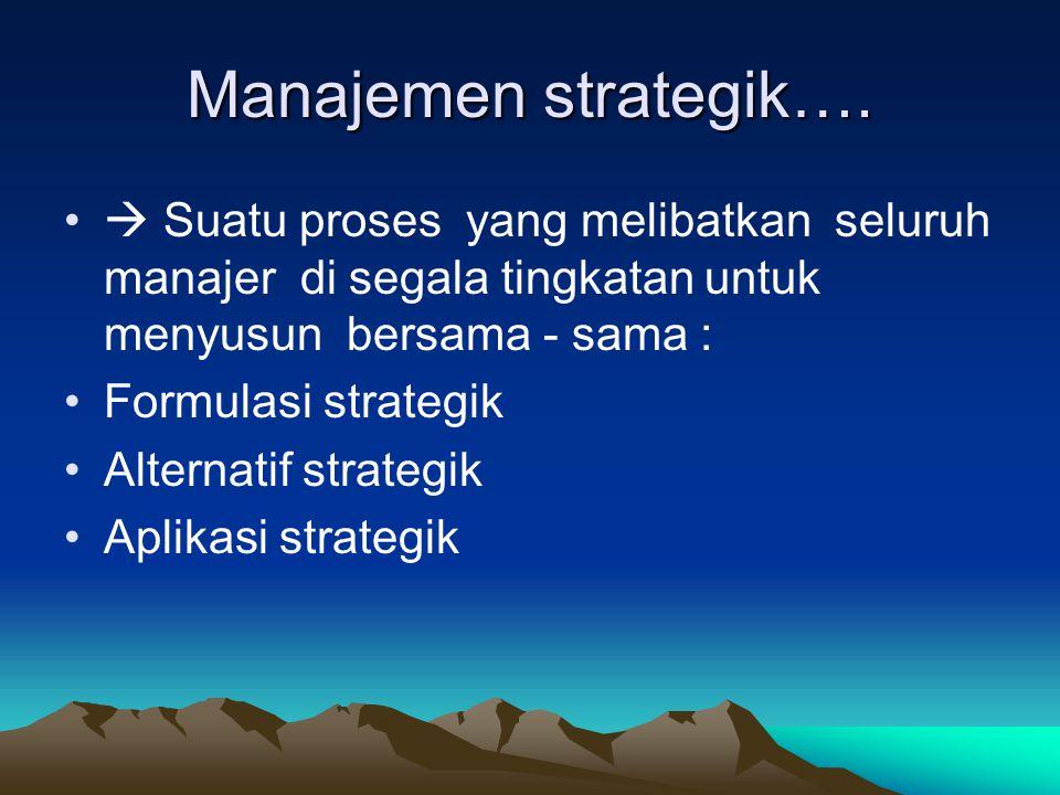 Manajemen strategik Adalah sekumpulan keputusan dan tindakan yang menghasilkan rumusan rencana-rencana yang dirancang untuk mencapai sasaran2 RS. Pene