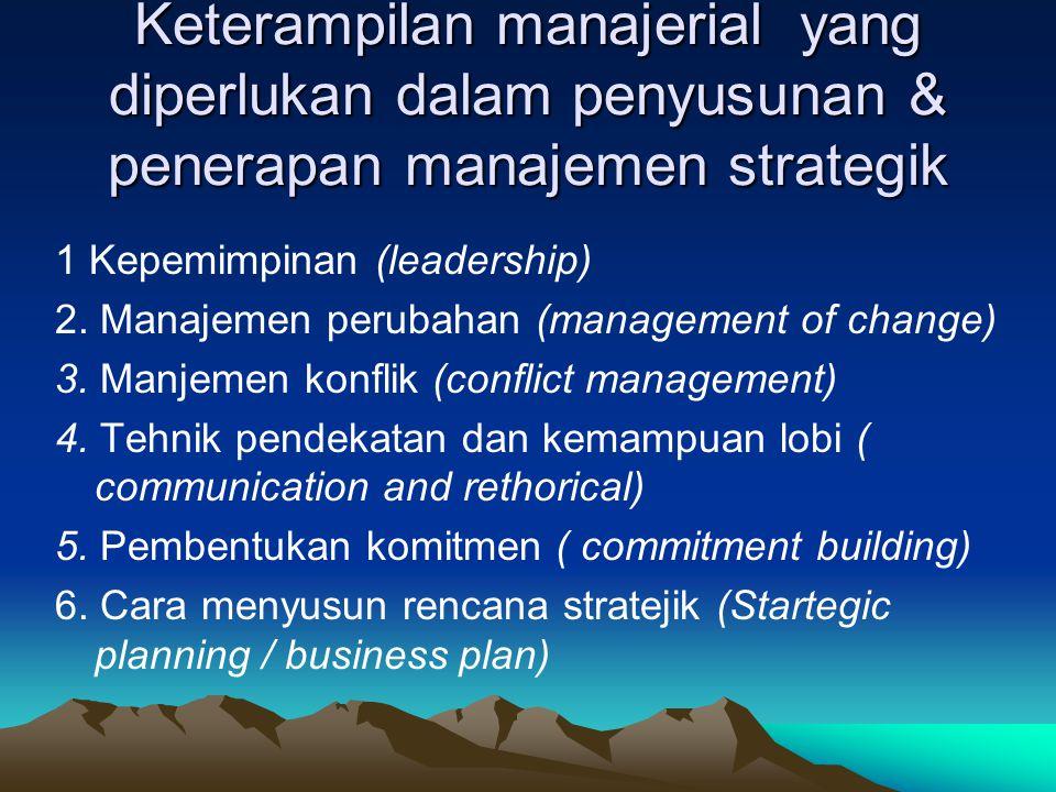 Manfaat manajemen strategik Keterlibatan secara aktif semua manajer disemua lini Adanya Komitmen yang tinggi dalam membentuk budaya organisasi Merubah