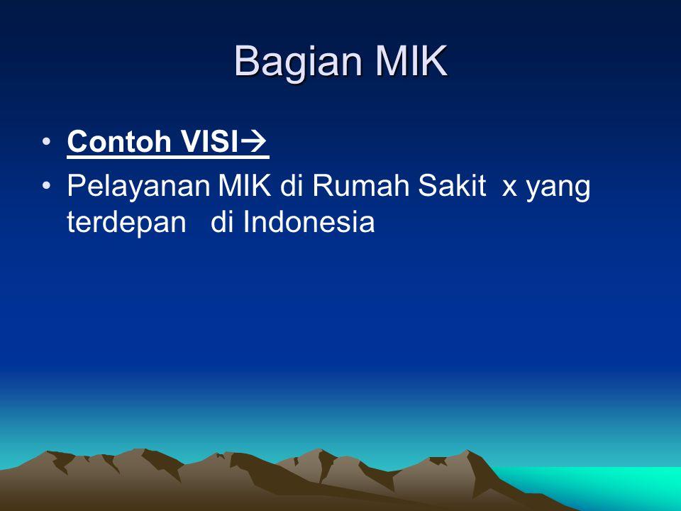 RS X RS X CONTOH VISI Menjadi RS terdepan dalam pelayanan Indonesia MISI:  Melaksanakan pelayanan pendidikan dan penelitian yang bermutu tinggi di bi