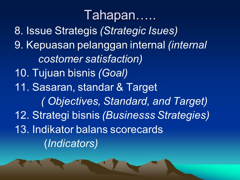 Tahapan penyusunan Business Plan 1.Ringkasan eksekutif (Executive summary) 2.Visi, misi dan nilai-nilai (vission, mission and value) 3.Latar belakang