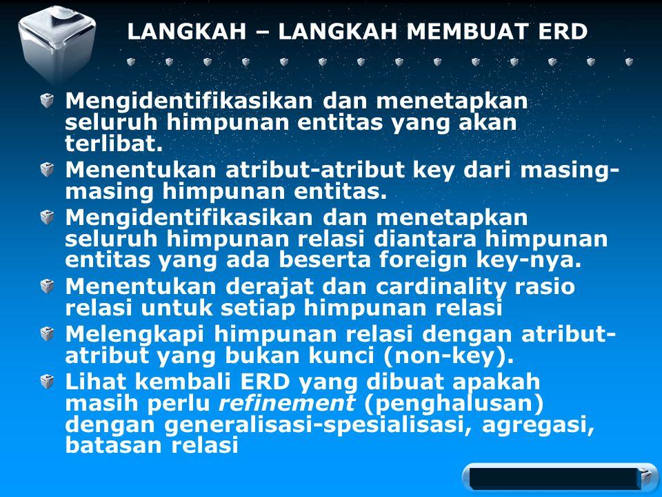 Your company slogan LANGKAH – LANGKAH MEMBUAT ERD Mengidentifikasikan dan menetapkan seluruh himpunan entitas yang akan terlibat.