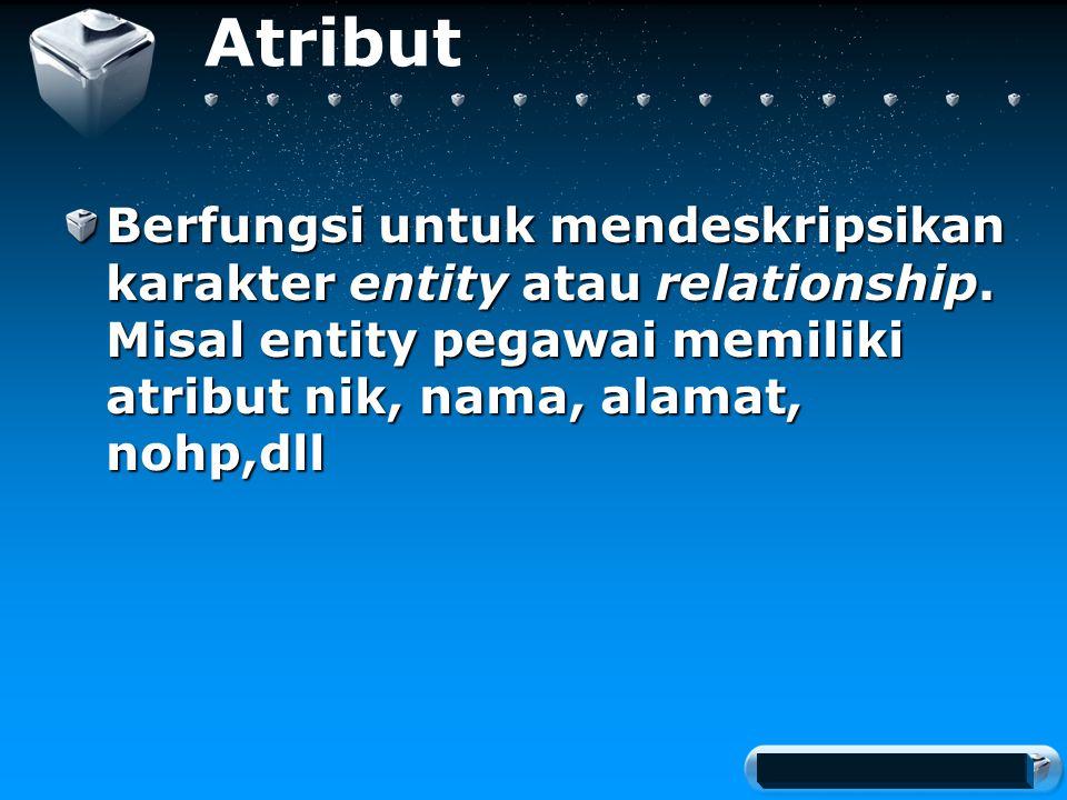 Your company slogan Atribut Berfungsi untuk mendeskripsikan karakter entity atau relationship.