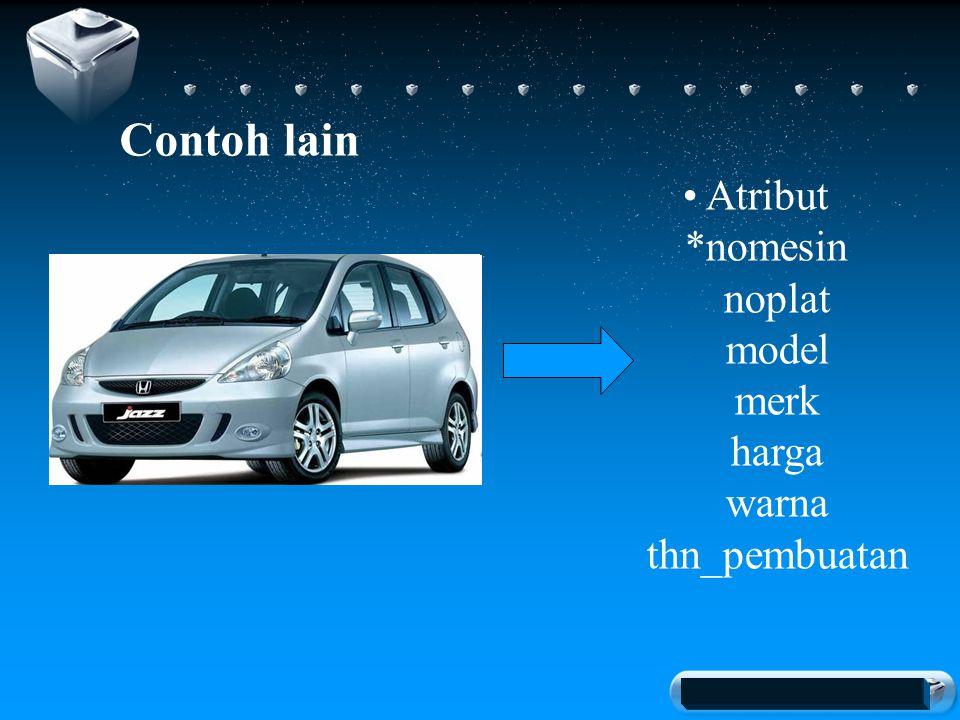Your company slogan Contoh lain Atribut *nomesin noplat model merk harga warna thn_pembuatan
