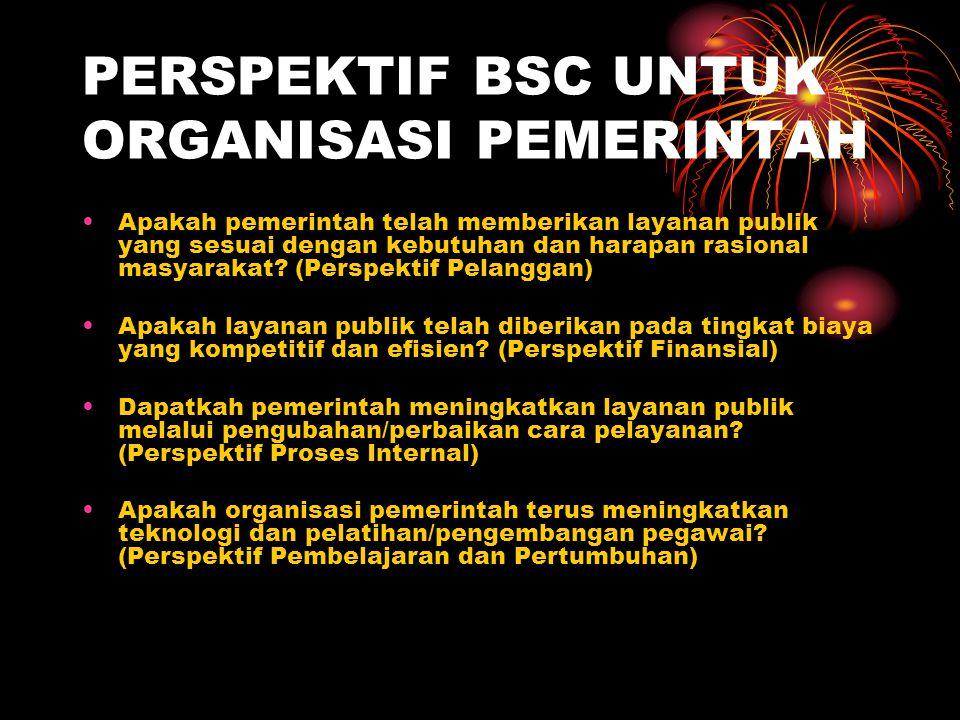 PERSPEKTIF BSC UNTUK ORGANISASI PEMERINTAH Apakah pemerintah telah memberikan layanan publik yang sesuai dengan kebutuhan dan harapan rasional masyara