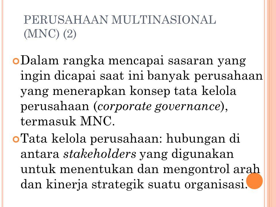 PERUSAHAAN MULTINASIONAL (MNC) (1) MNC: perusahaan yang berada di satu negara yang mempunyai operasi produksi dan penjualan di beberapa negara lain. J