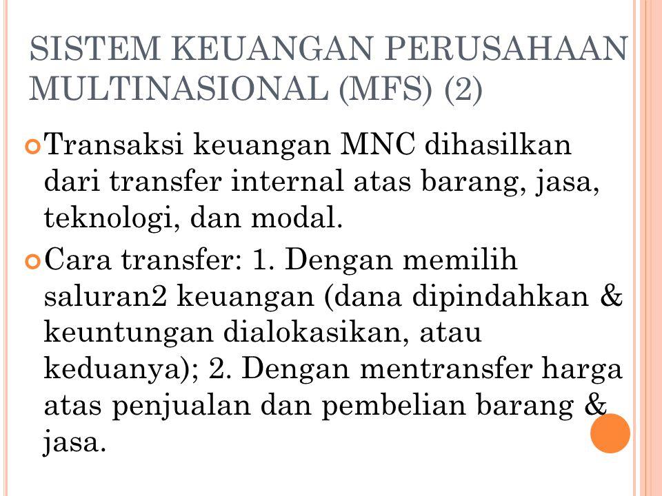 SISTEM KEUANGAN PERUSAHAAN MULTINASIONAL (MFS) (1) MFS: keseluruhan dari mekanisme transfer internal yang tersedia bagi MNC untuk membagi keuntungan d