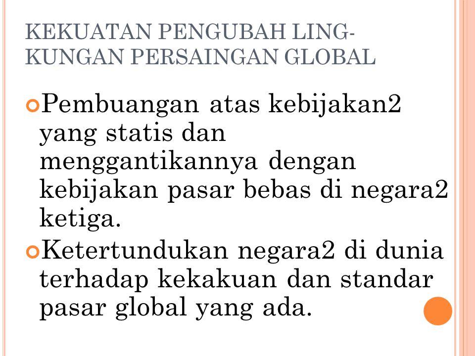 KEKUATAN PENGUBAH LING- KUNGAN PERSAINGAN GLOBAL Deregulasi besar2-an. Matinya komunisme. Privatisasi atas perusahaan milik pemerintah di dunia yang m