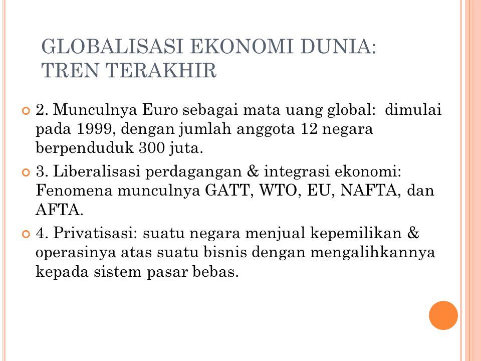 GLOBALISASI EKONOMI DUNIA: TREN TERAKHIR 1. Munculnya pasar2 keuangan yang terglobalisasi: integrasi yang cepat atas pasar2 modal dan keuangan. Global