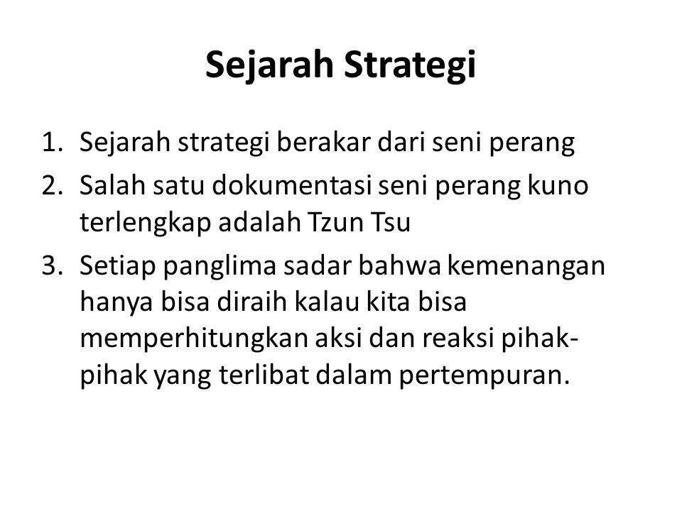 Sejarah Strategi 1.Sejarah strategi berakar dari seni perang 2.Salah satu dokumentasi seni perang kuno terlengkap adalah Tzun Tsu 3.Setiap panglima sa