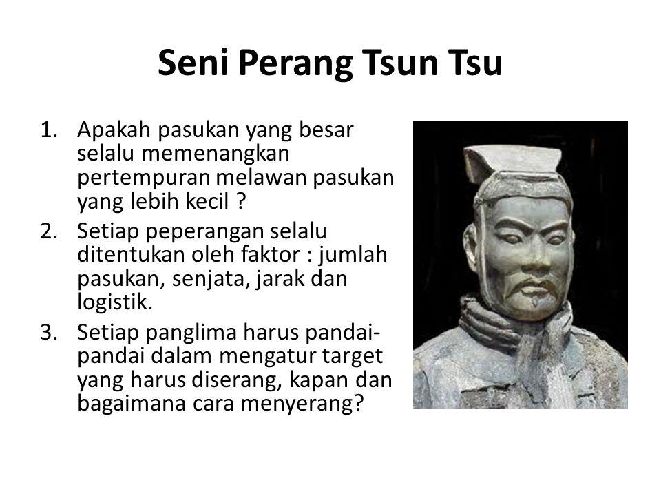Seni Perang Tsun Tsu 1.Apakah pasukan yang besar selalu memenangkan pertempuran melawan pasukan yang lebih kecil ? 2.Setiap peperangan selalu ditentuk