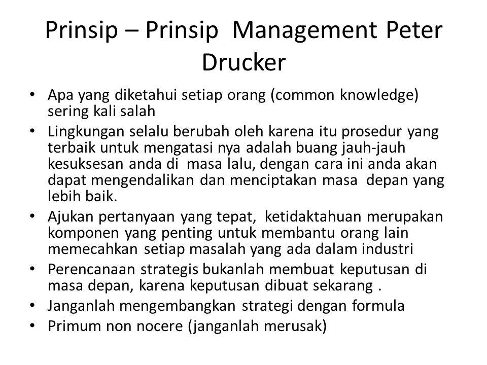 Prinsip – Prinsip Management Peter Drucker Apa yang diketahui setiap orang (common knowledge) sering kali salah Lingkungan selalu berubah oleh karena