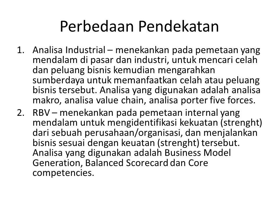 Perbedaan Pendekatan 1.Analisa Industrial – menekankan pada pemetaan yang mendalam di pasar dan industri, untuk mencari celah dan peluang bisnis kemud