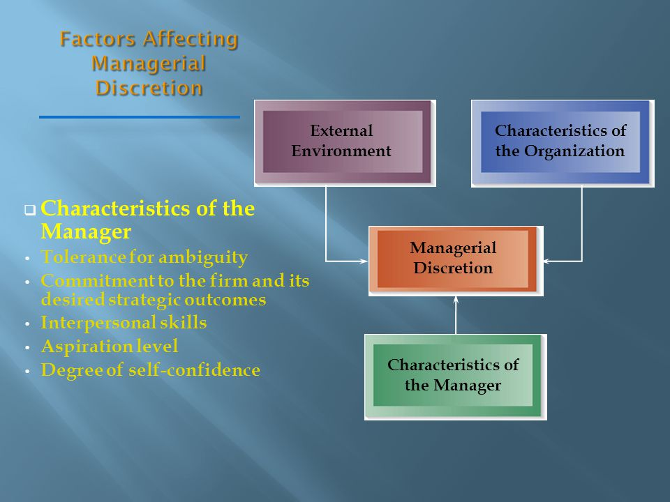  Characteristics of the Manager Tolerance for ambiguity Commitment to the firm and its desired strategic outcomes Interpersonal skills Aspiration lev