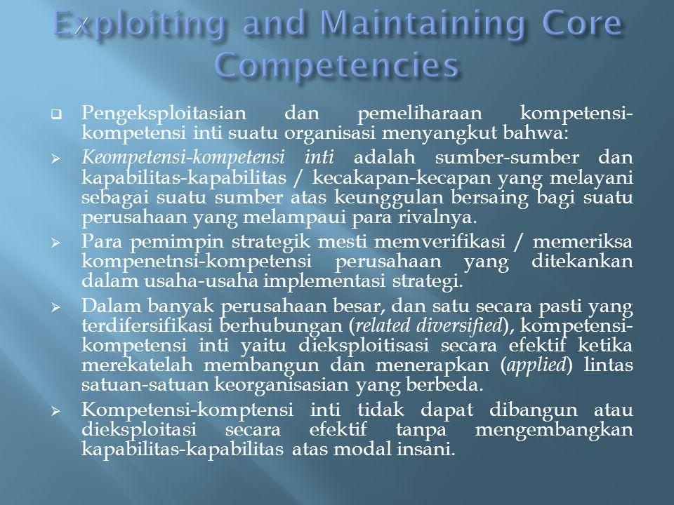  Pengeksploitasian dan pemeliharaan kompetensi- kompetensi inti suatu organisasi menyangkut bahwa:  Keompetensi-kompetensi inti adalah sumber-sumber dan kapabilitas-kapabilitas / kecakapan-kecapan yang melayani sebagai suatu sumber atas keunggulan bersaing bagi suatu perusahaan yang melampaui para rivalnya.