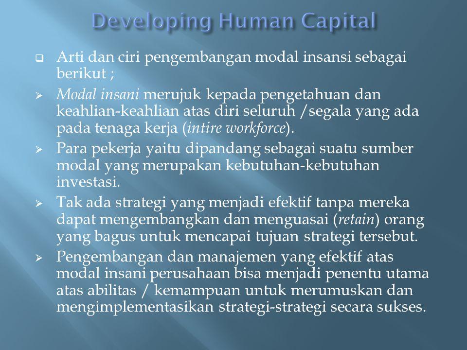  Arti dan ciri pengembangan modal insansi sebagai berikut ;  Modal insani merujuk kepada pengetahuan dan keahlian-keahlian atas diri seluruh /segala yang ada pada tenaga kerja ( intire workforce ).