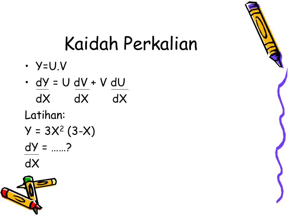 Kaidah Perkalian Y=U.V dY = U dV + V dU dX dX dX Latihan: Y = 3X 2 (3-X) dY = ……? dX