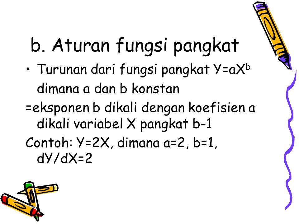 b. Aturan fungsi pangkat Turunan dari fungsi pangkat Y=aX b dimana a dan b konstan =eksponen b dikali dengan koefisien a dikali variabel X pangkat b-1