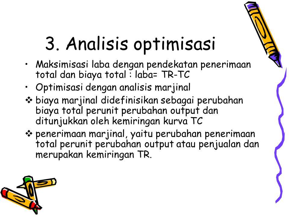 3. Analisis optimisasi Maksimisasi laba dengan pendekatan penerimaan total dan biaya total : laba= TR-TC Optimisasi dengan analisis marjinal  biaya m