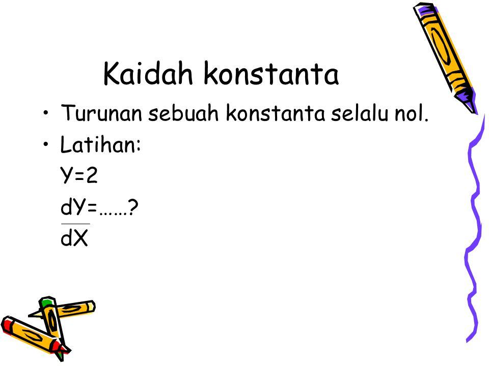 Kaidah konstanta Turunan sebuah konstanta selalu nol. Latihan: Y=2 dY=……? dX