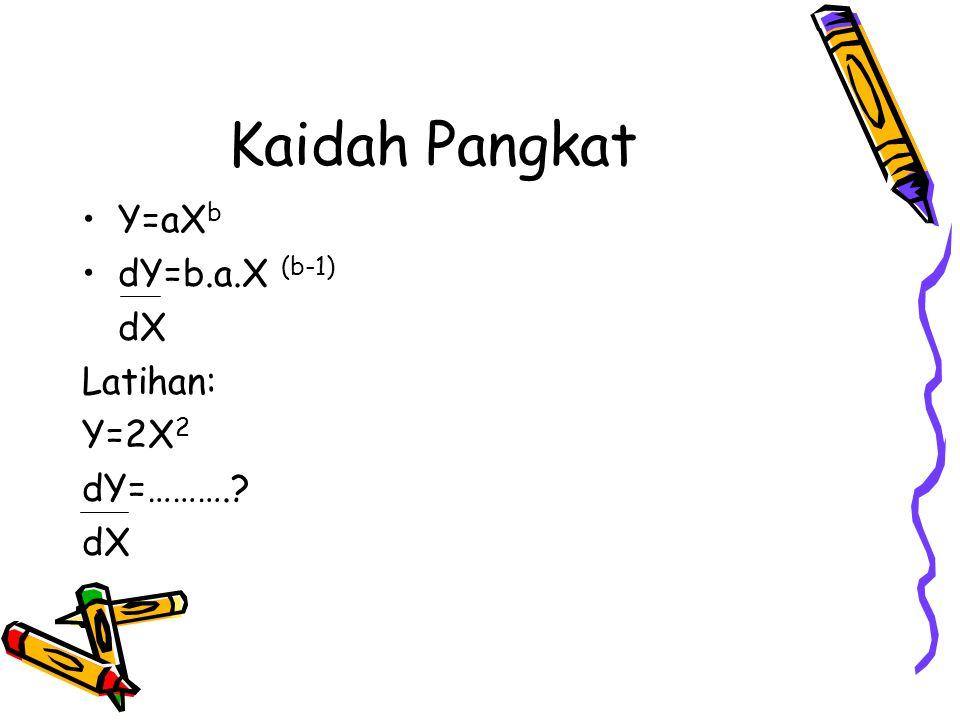 Kaidah Penjumlahan dan Selisih U=g(X) ; U adalah g fungsi X V=h(X) ; V adalah h fungsi X Y=U+V dY=dU + dV dX dX dX Latihan : Y=2X 2 + X 3 dY=…….