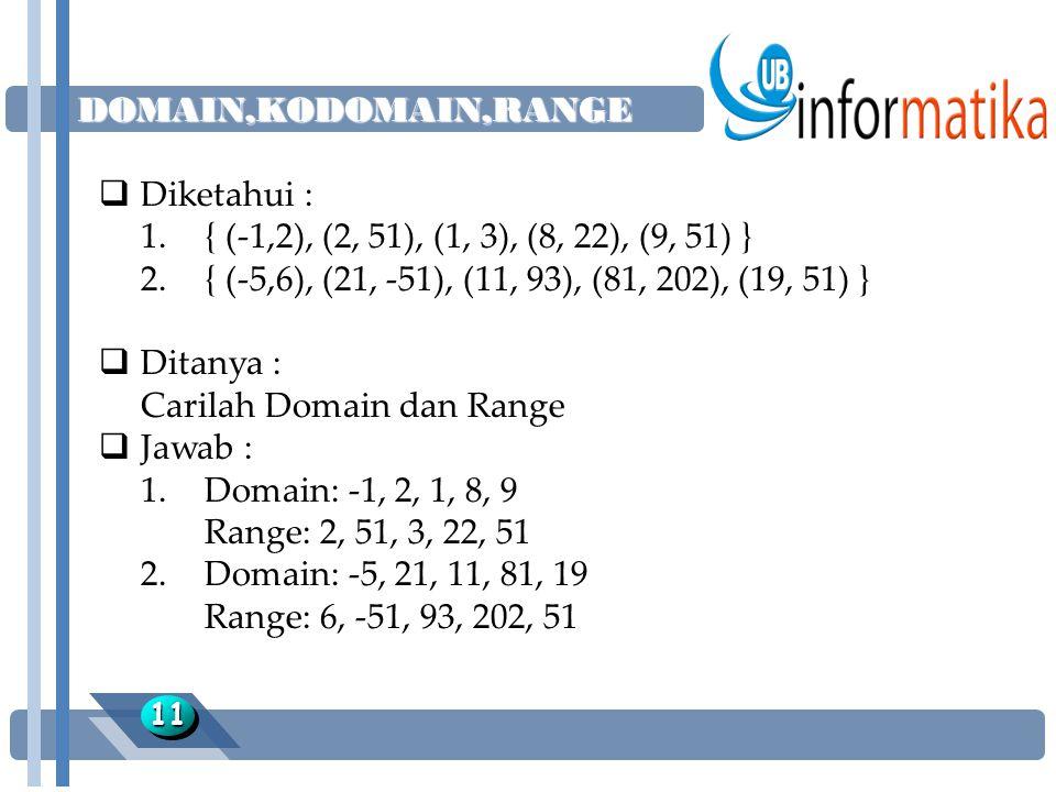 DOMAIN,KODOMAIN,RANGE 1111  Diketahui : 1.{ (-1,2), (2, 51), (1, 3), (8, 22), (9, 51) } 2.{ (-5,6), (21, -51), (11, 93), (81, 202), (19, 51) }  Dita