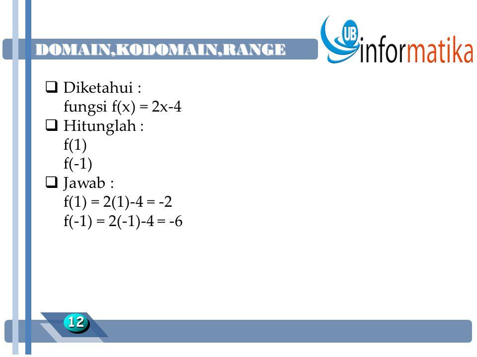DOMAIN,KODOMAIN,RANGE 1212  Diketahui : fungsi f(x) = 2x-4  Hitunglah : f(1) f(-1)  Jawab : f(1) = 2(1)-4 = -2 f(-1) = 2(-1)-4 = -6