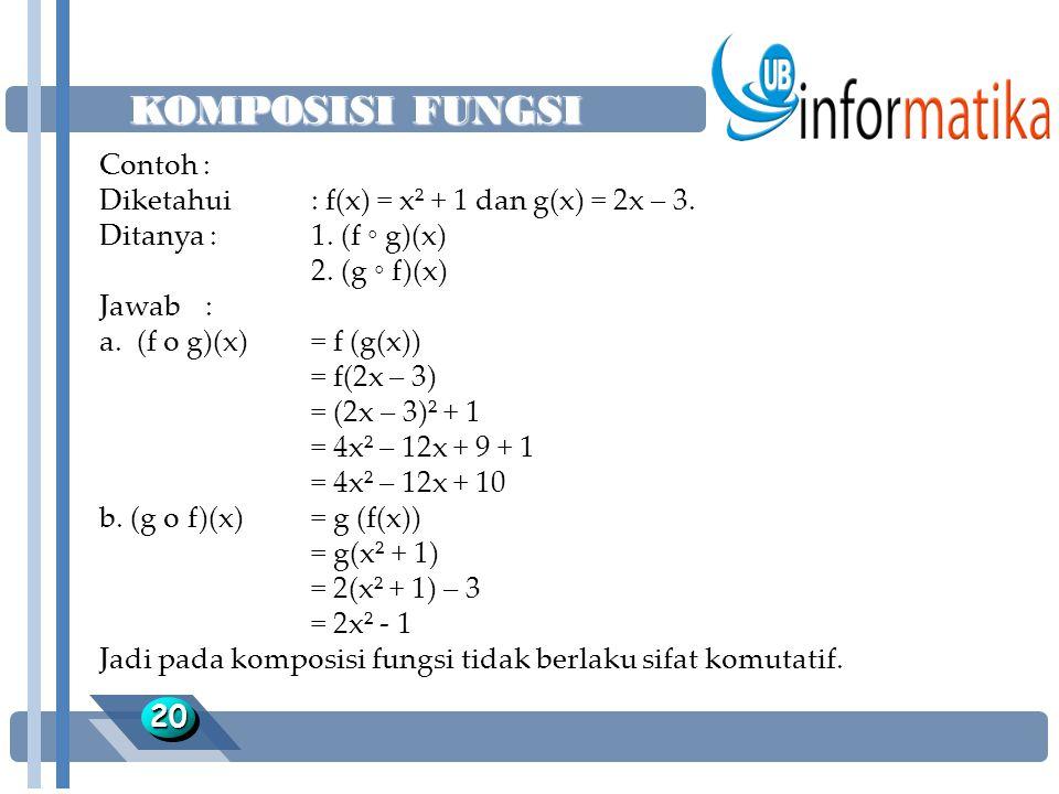 KOMPOSISI FUNGSI 2020 Contoh : Diketahui : f(x) = x² + 1 dan g(x) = 2x – 3. Ditanya :1. (f ◦ g)(x) 2. (g ◦ f)(x) Jawab: a. (f o g)(x)= f (g(x)) = f(2x