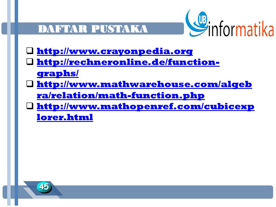 DAFTAR PUSTAKA 4545  http://www.crayonpedia.org http://www.crayonpedia.org  http://rechneronline.de/function- graphs/ http://rechneronline.de/function- graphs/  http://www.mathwarehouse.com/algeb ra/relation/math-function.php http://www.mathwarehouse.com/algeb ra/relation/math-function.php  http://www.mathopenref.com/cubicexp lorer.html http://www.mathopenref.com/cubicexp lorer.html