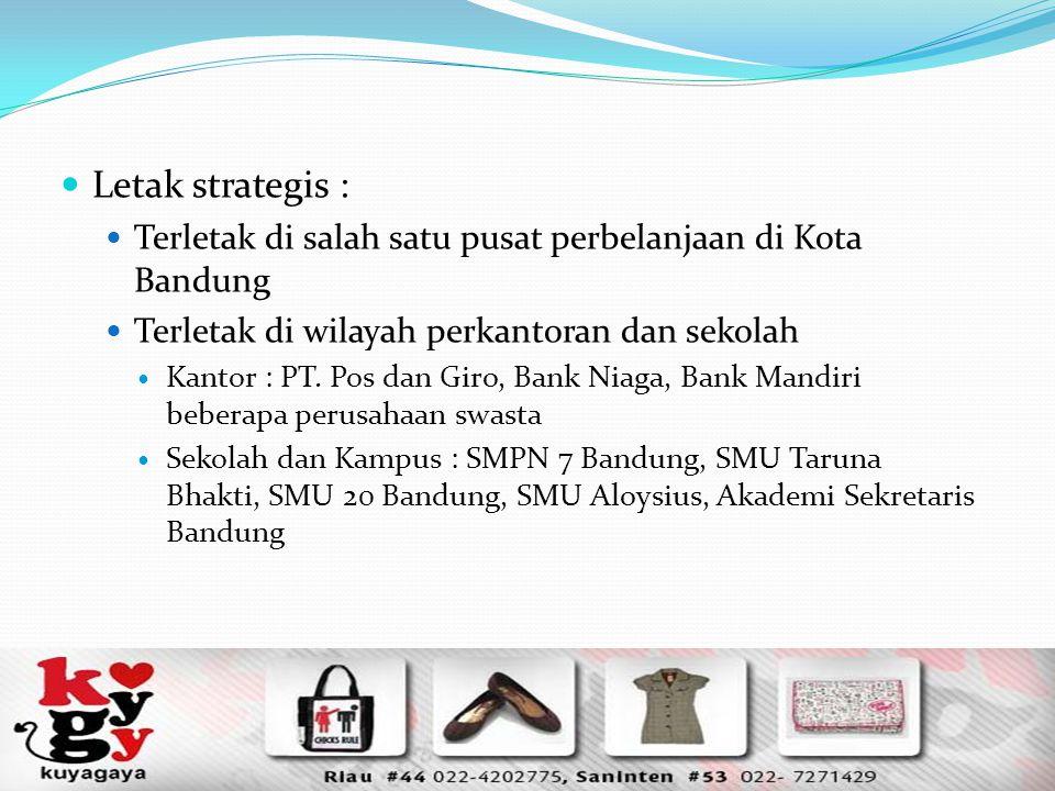 Letak strategis : Terletak di salah satu pusat perbelanjaan di Kota Bandung Terletak di wilayah perkantoran dan sekolah Kantor : PT. Pos dan Giro, Ban