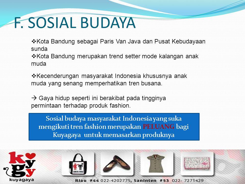 F. SOSIAL BUDAYA  Kecenderungan masyarakat Indonesia khususnya anak muda yang senang memperhatikan tren busana.  Gaya hidup seperti ini berakibat pa