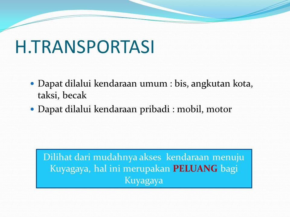 H.TRANSPORTASI Dapat dilalui kendaraan umum : bis, angkutan kota, taksi, becak Dapat dilalui kendaraan pribadi : mobil, motor Dilihat dari mudahnya ak