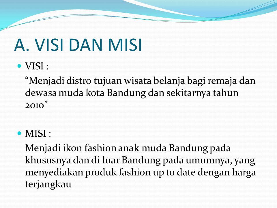 """A. VISI DAN MISI VISI : """"Menjadi distro tujuan wisata belanja bagi remaja dan dewasa muda kota Bandung dan sekitarnya tahun 2010"""" MISI : Menjadi ikon"""